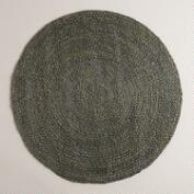 Gray Round Braided Jute Area Rug