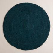 Teal Round Braided Jute Area Rug