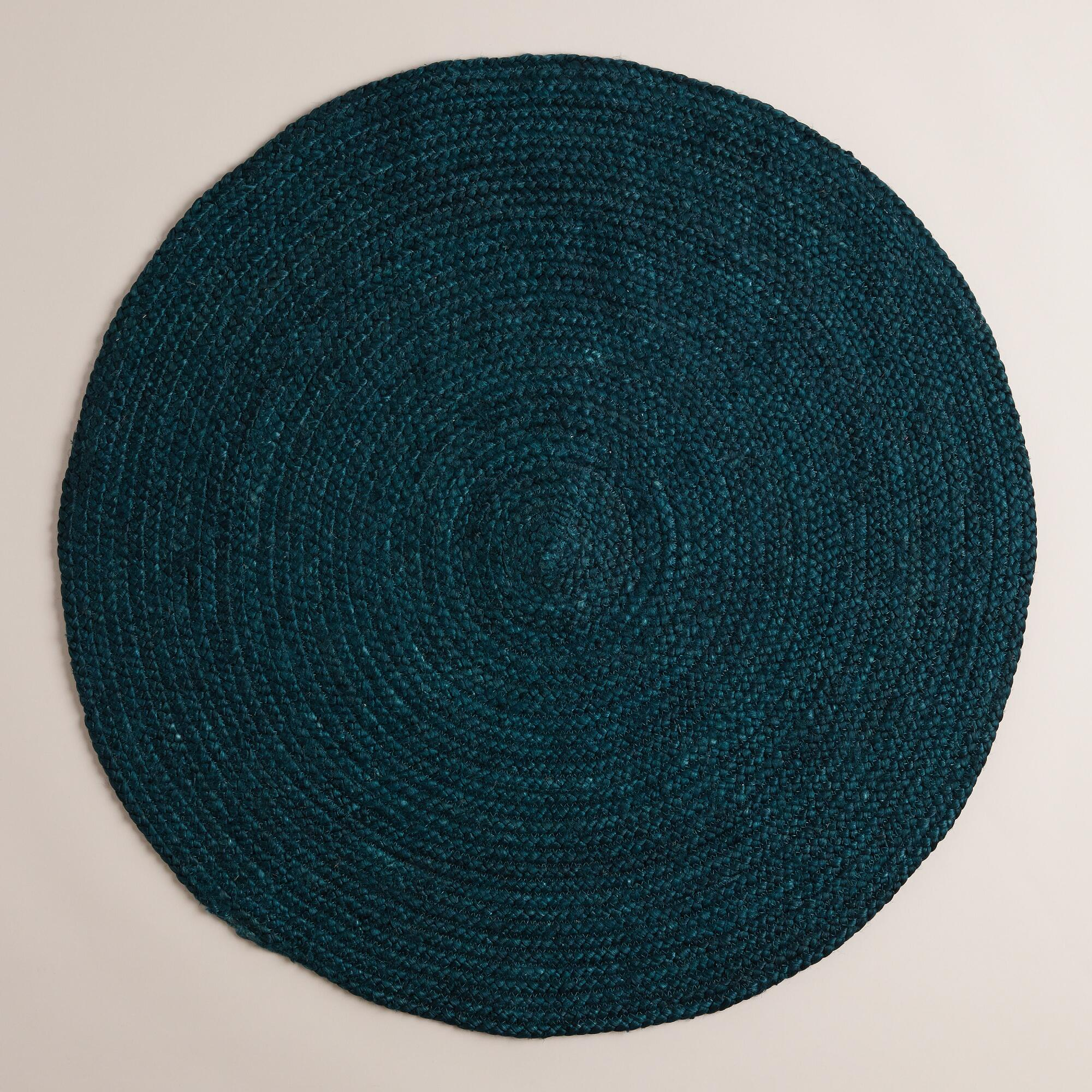 Teal Woven Rag Rug: Teal Round Braided Jute Area Rug