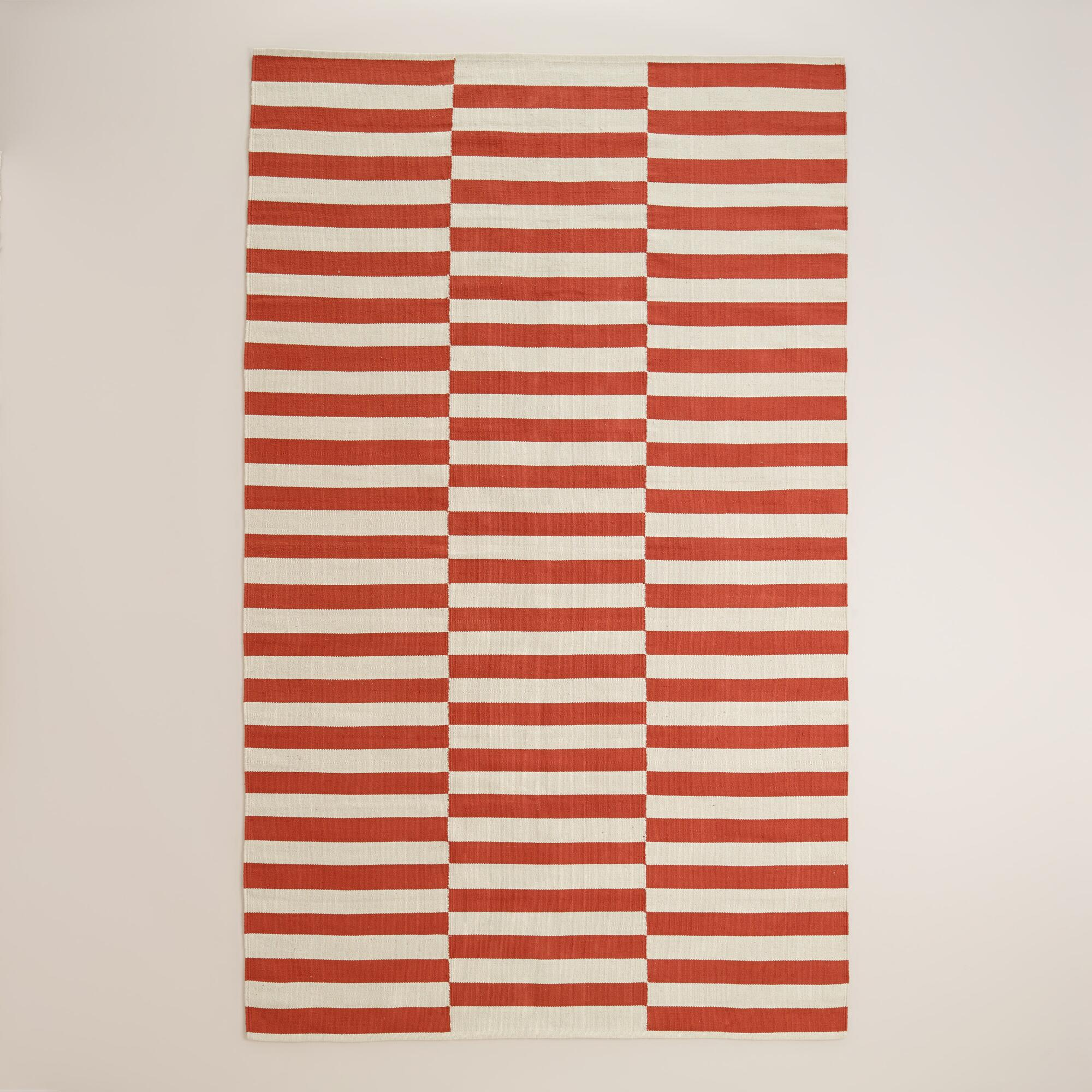 cranberry red and white stripe cotton dhurrie area rug