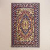 Blue and Red Persian Urban Easy Care Floor Mat