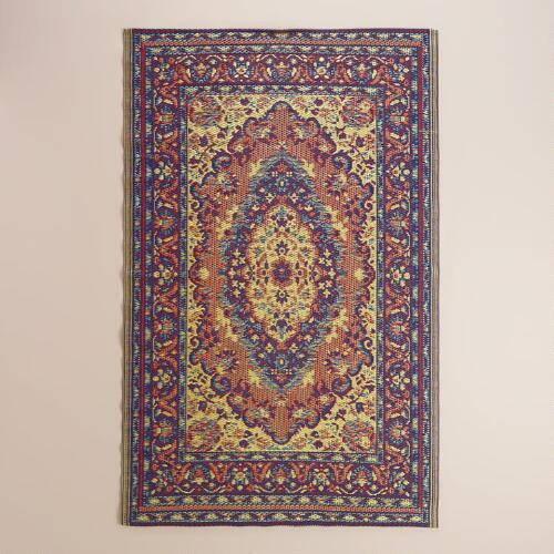 Blue and Red Persian Urban Indoor-Outdoor Floor Mat