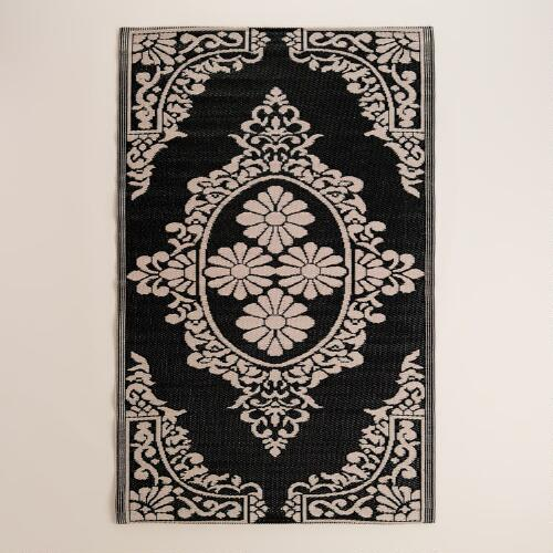 Black and White Urban Indoor-Outdoor Floor Mat