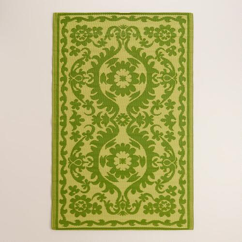 Green Floral Urban Indoor-Outdoor Floor Mat