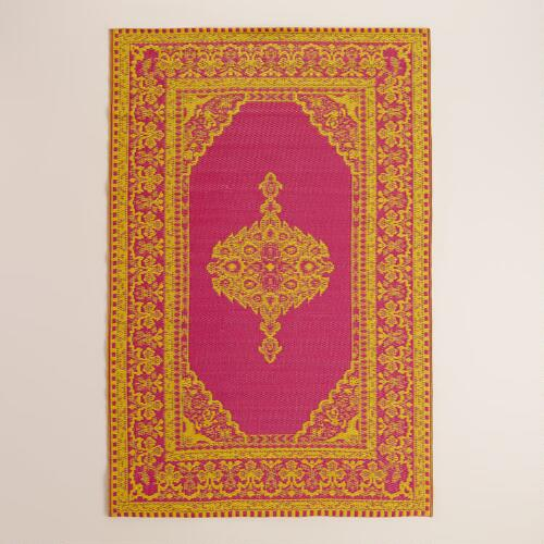 Pink and Yellow Persian Urban Indoor-Outdoor Floor Mat