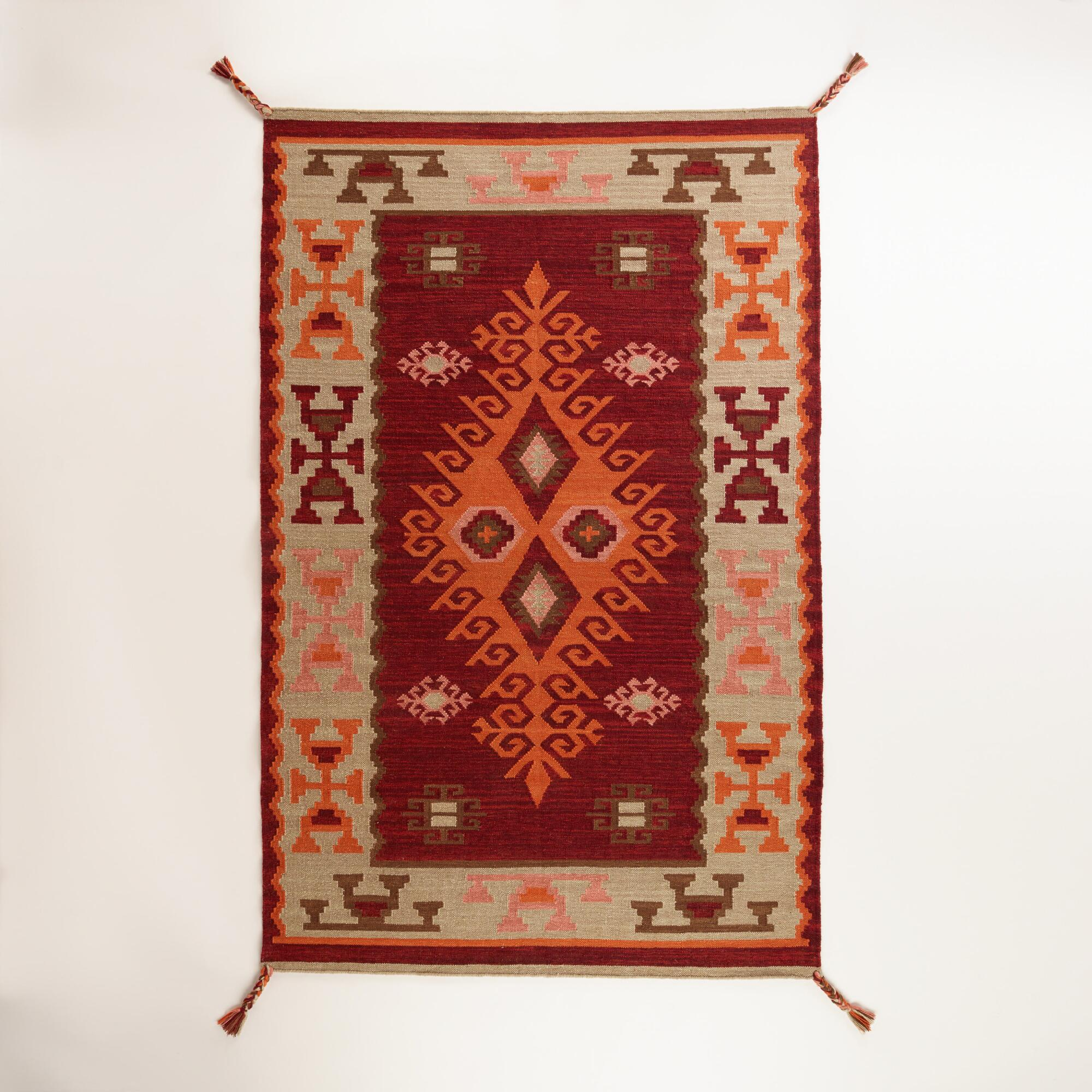 Red Odina Kilim Indoor-Outdoor Rug | World Market - photo#2