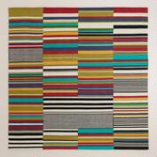 6' Square Multicolor Off-Placed Stripe Rug