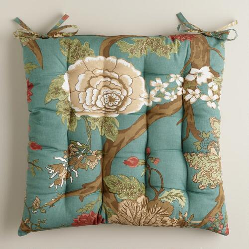 Teal Lucinda Floral Chair Cushion