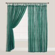 Storm Green Crinkle Voile Curtains, Set of 2