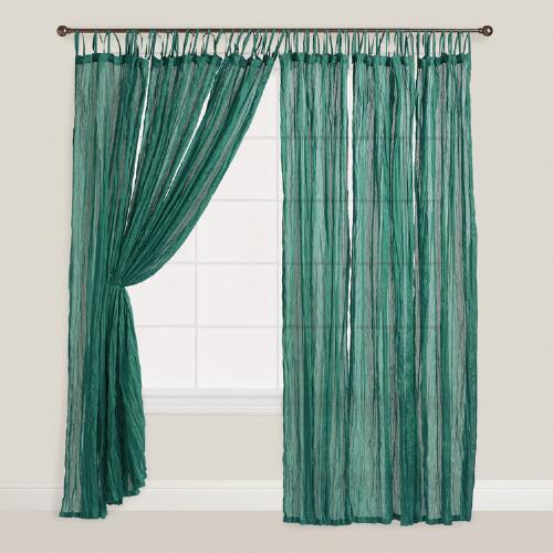 Storm Green Crinkle Voile Curtain