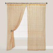 Yellow Print Crinkle Voile Curtain