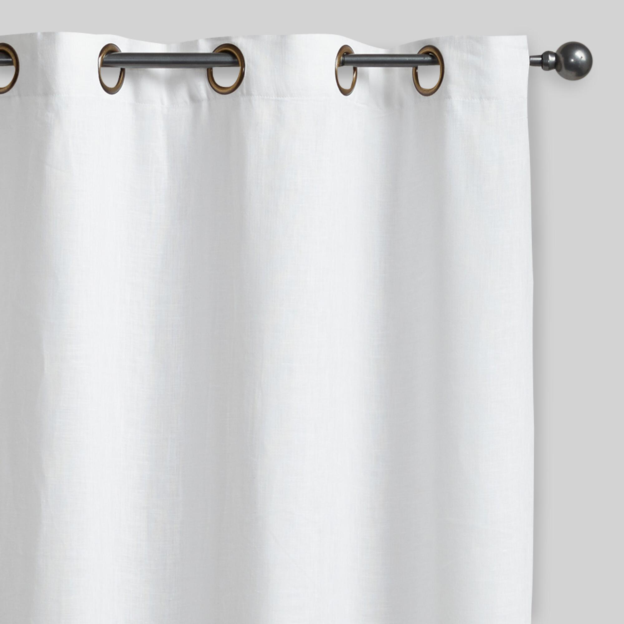 white linen grommet top curtains set of 2 world market