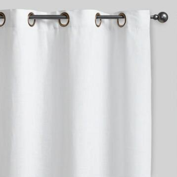 White Linen Grommet Top Curtains, Set of 2