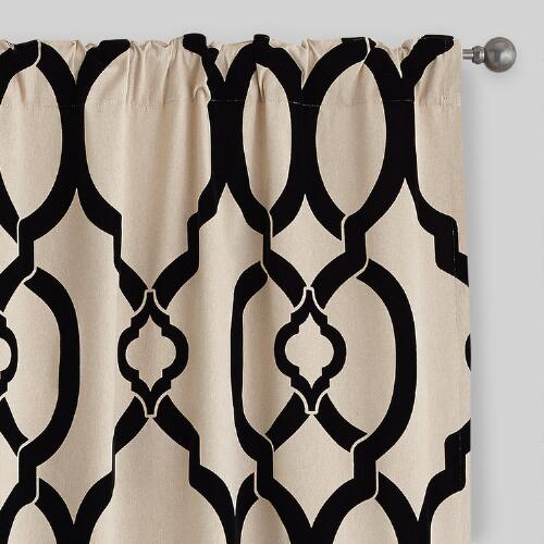Black Trellis Ethel Flocked Chambray Curtains, Set of 2