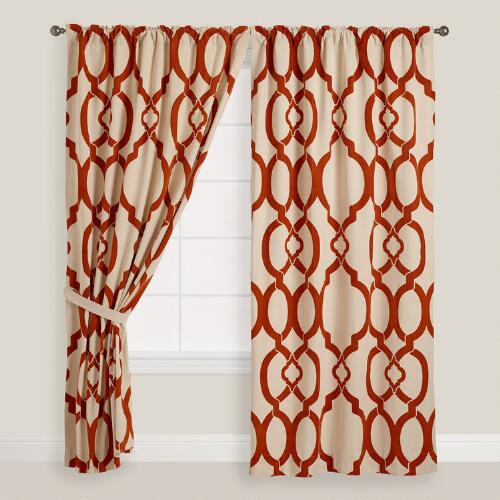 Rust Ethel Flocked Chambray Tab Top Curtain