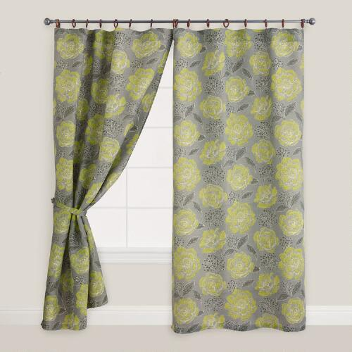Floral Fortress Bouquet Jute Ring Top Curtain