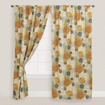 Floral Mackenzie Cotton Tab Top Curtain