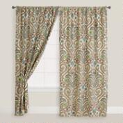 Ivory Floral Treetop Cotton Tab Top Curtain