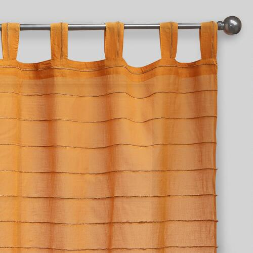Amber Striped Sahaj Jute Tab Top Curtain