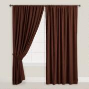 Chocolate Brown Velvet Dual Tab Top Curtain