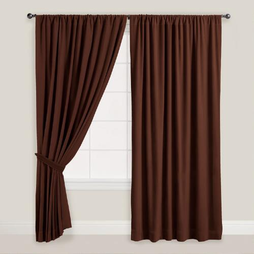 Brown Velvet Dual Tab Top Curtain