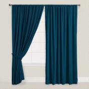 Night Blue Velvet Dual Tab Top Curtain