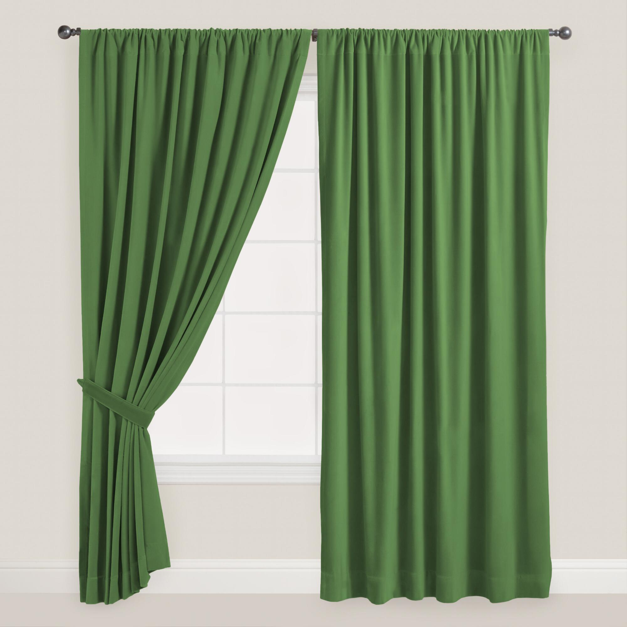 Dark Green Velvet Dual Tab Top Curtain World Market