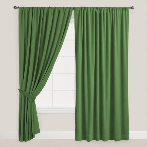 Dark Green Velvet Dual Tab Top Curtain