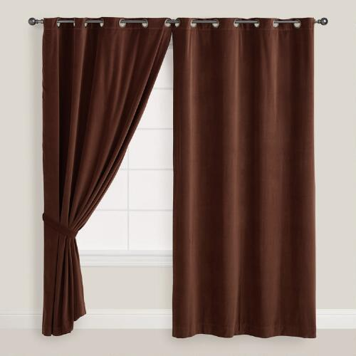 Brown Velvet Grommet Top Curtain
