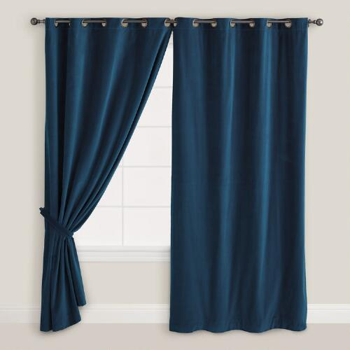 Dark Blue Velvet Grommet Top Curtain