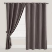 Tornado Gray Velvet Grommet Top Curtain