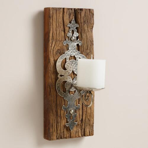Large Recycled Wood Sconce Candleholder