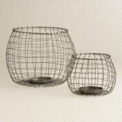 Woven Wire Hurricane Candleholders