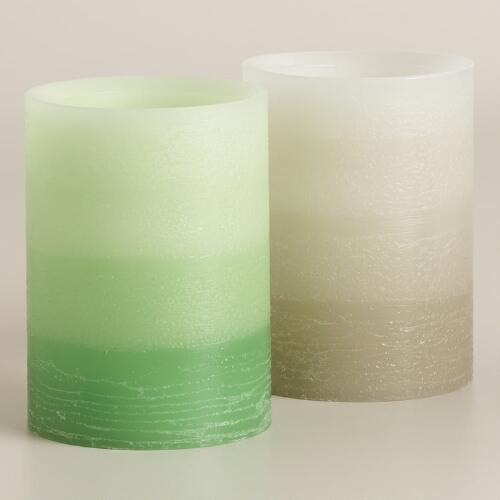 "3"" x 4"" Ombre Flameless LED Pillar Candles, Set of 2"