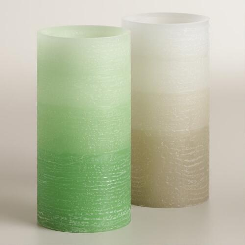 "3"" x 6"" Ombre Flameless LED Pillar Candles, Set of 2"