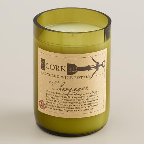Champagne Wine Bottle Filled Candle