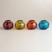 Blown Glass Abhati Candleholders, Set of 4