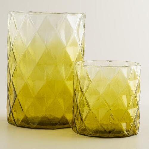 Green Ombre Diamond Hurricane Candleholder