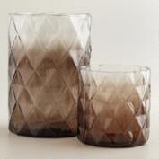 Gray Ombre Diamond Hurricane Candleholders