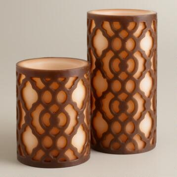 Carved Ethel LED Pillar Candle