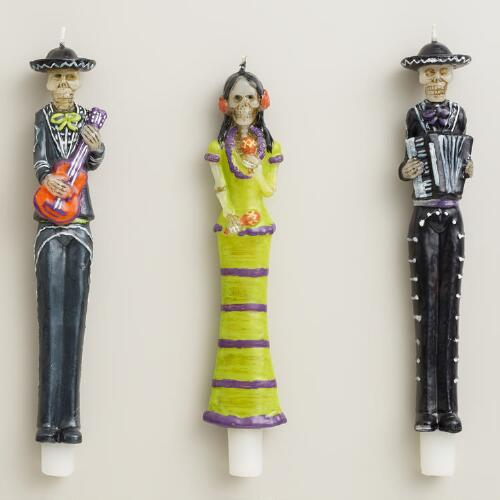 Los Muertos Mariachi Taper Candles, Set of 3
