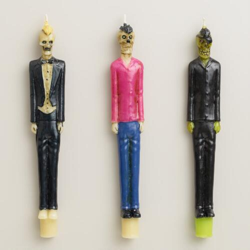 Zombie Taper Candles, Set of 3