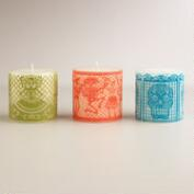 Papel de Picado Pillar  Candles, Set of 3