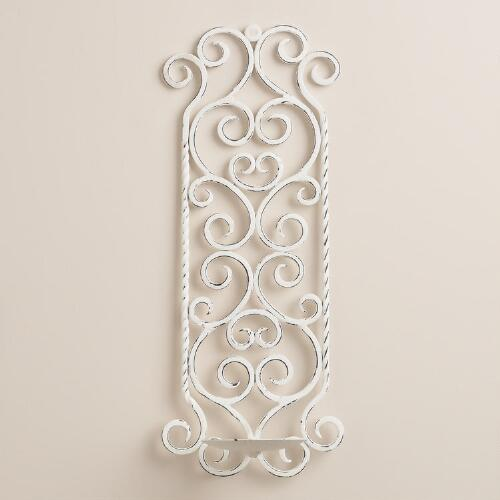 White Metal Scroll Wall Sconce