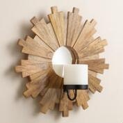 Sunburst Wood Mirror Sconce Candleholder
