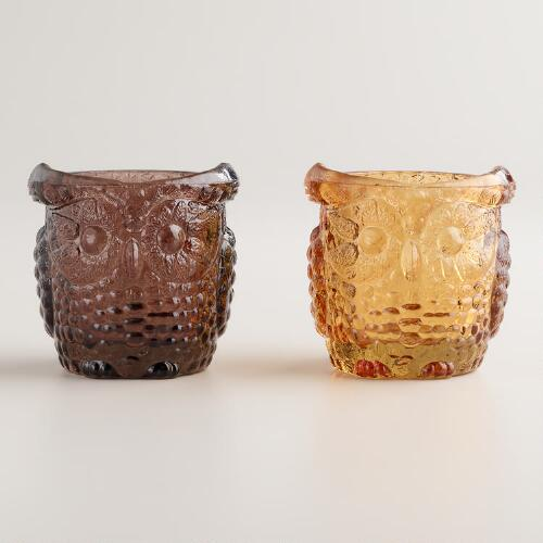 Glass Owl Tealight Candleholders, Set of 2