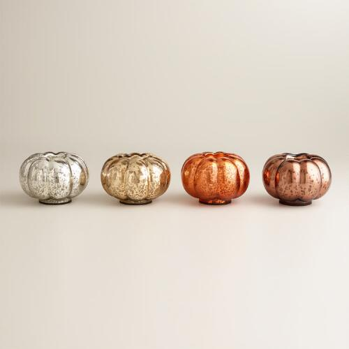 Mercury Glass Pumpkin Tealight Candleholders, Set of 4