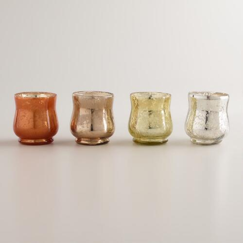 Mercury Glass Votive Candleholders, Set of 4