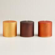 Small Matte Metallic Pillar Candles, Set of 3
