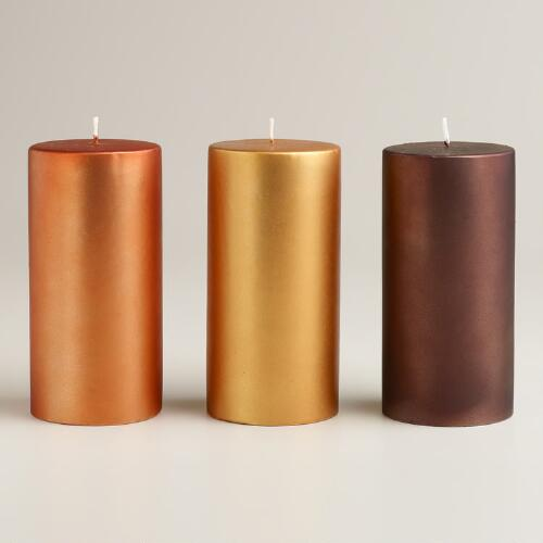 Large Matte Metallic Pillar Candles, Set of 3